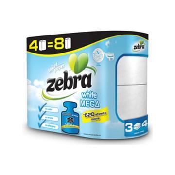 Туалетний папір ZEBRA White білий 3-шар,4 шт/уп, 36,4м (3800090304166)