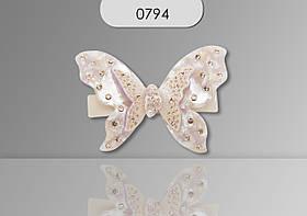 Заколка Автомат метелик середня малахіт 0794