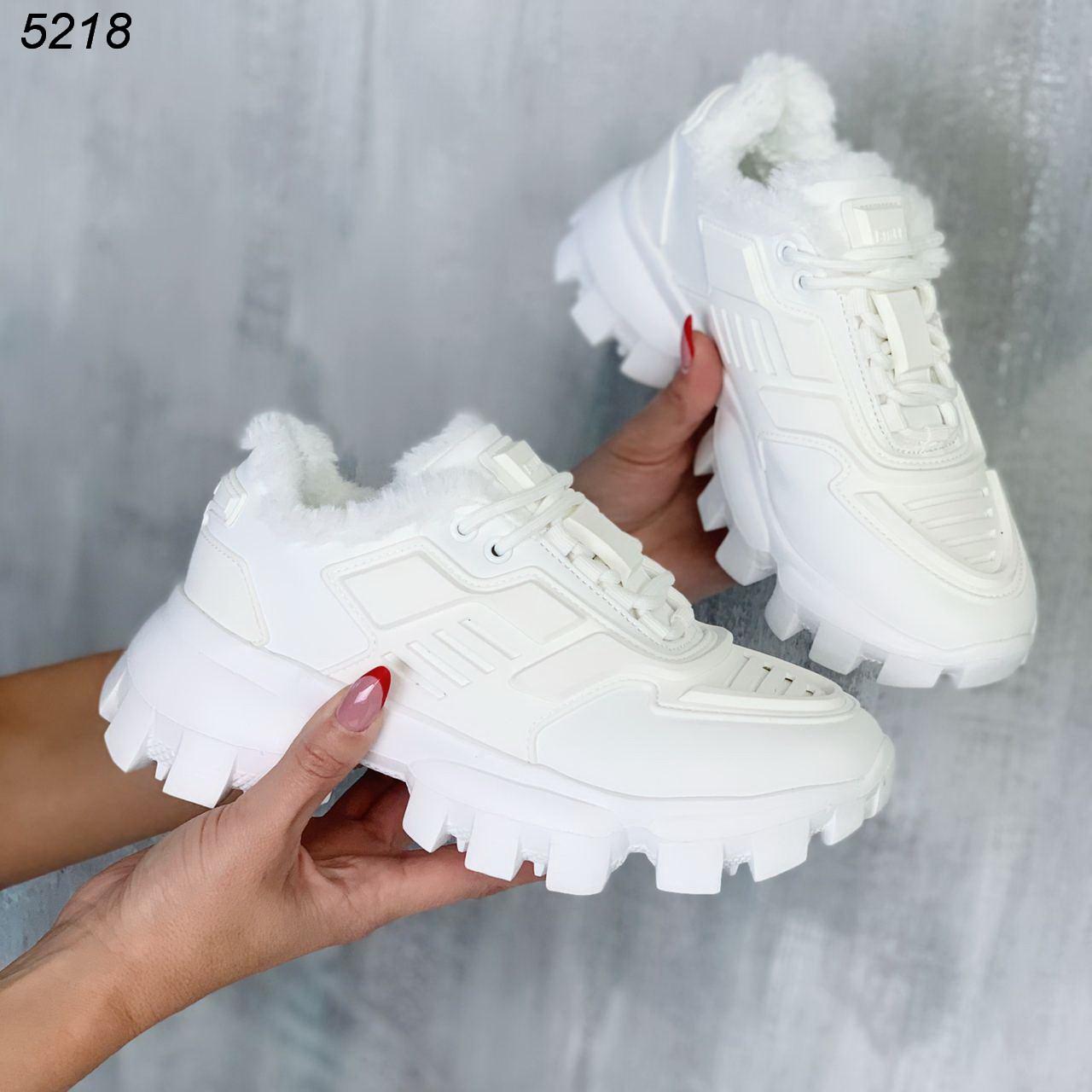 Кроссовки женские белые Зима 5218