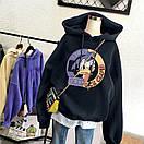 Женское теплое худи оверсайз с рисунком DOmdLD DUCK CLUB (размер 42-46) 68sv909, фото 5