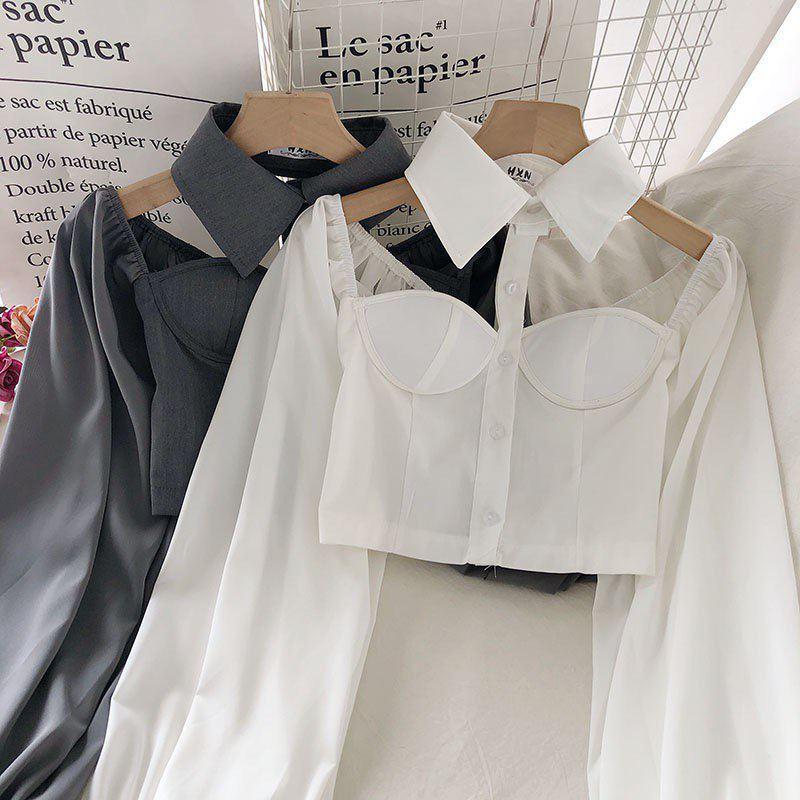 Женская блуза бюстье с чокером - воротником и рукавами фонариками (р. 42-44) 68ru408