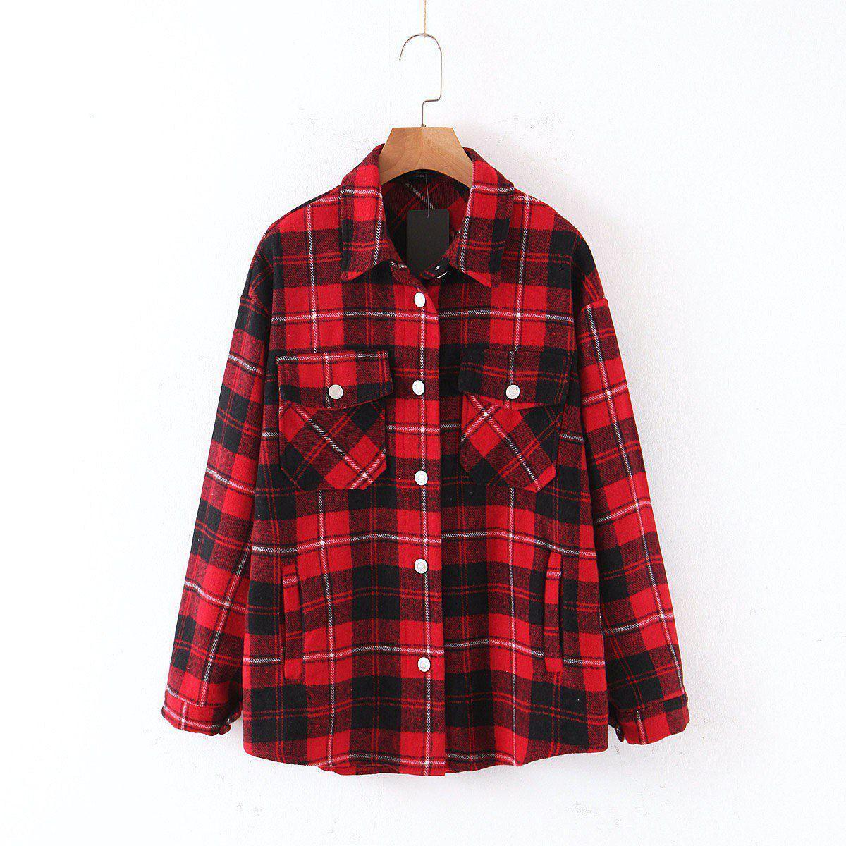 Женская теплая рубашка в клетку с карманами на груди в едином размере 42-46 68ru412