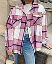 Женская теплая рубашка в клетку с карманами на груди в едином размере 42-46 68ru412, фото 3