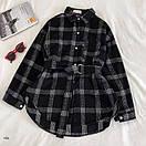 Женская теплая фланелевая рубашка в клетку удлиненная, в едином размере 42-46 77ru413, фото 2