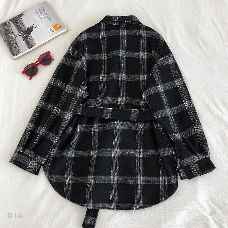 Женская теплая фланелевая рубашка в клетку удлиненная, в едином размере 42-46 77ru413