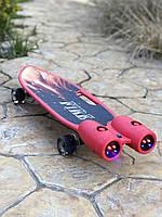 Пенни борд, скейт детский Fire 304, Турбины со светом, паром, дымом и музыкой, колеса светятся, Красный