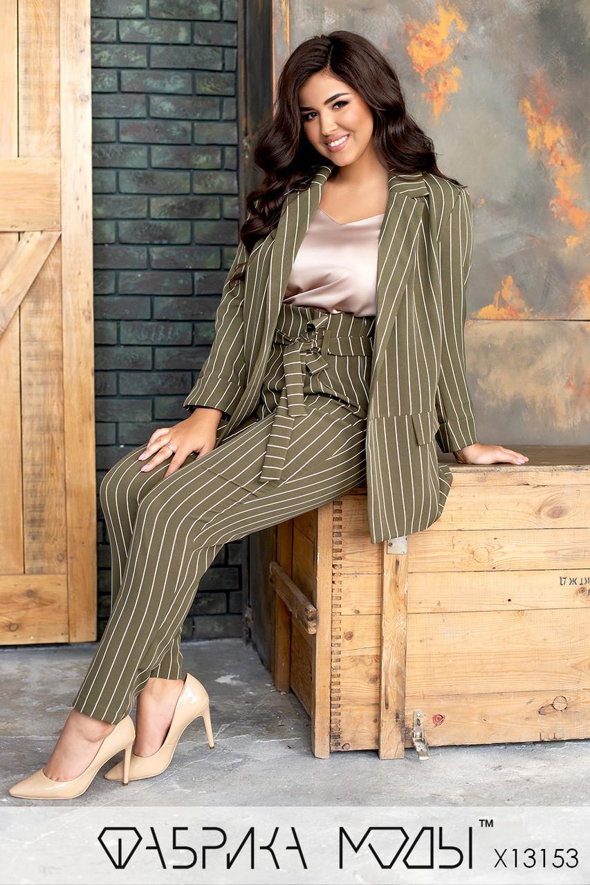 Брючный костюм в полоску - пиджак на запах под пояс и брюки в батальных размерах 1uk782