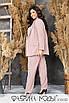 Брючный костюм в полоску - пиджак на запах под пояс и брюки в батальных размерах 1uk782, фото 6