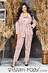 Брючный костюм в полоску - пиджак на запах под пояс и брюки в батальных размерах 1uk782, фото 7