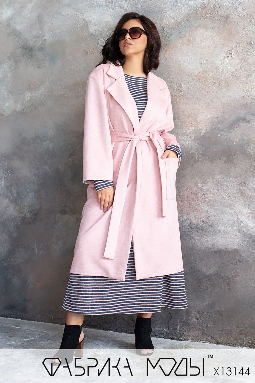Женское замшевое Пальто с накладными карманами и съемным поясом (без подкладки) в больших размерах 1blr785