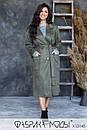 Женское замшевое Пальто с накладными карманами и съемным поясом (без подкладки) в больших размерах 1blr785, фото 3