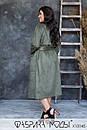 Женское замшевое Пальто с накладными карманами и съемным поясом (без подкладки) в больших размерах 1blr785, фото 6