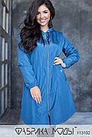 Женская куртка-плащ с капюшоном кроя трапеция, рукавами на резинке в батальных размерах 1blr790