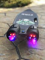 Пенни борд, скейт детский Fire 304, Турбины со светом, паром, дымом и музыкой, колеса светятся, Черный