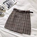 Женская буклированная юбка в клетку на запах с поясом 77jus436, фото 3