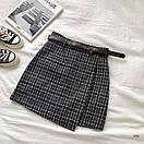 Женская буклированная юбка в клетку на запах с поясом 77jus436, фото 4