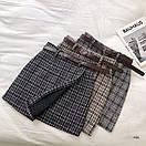 Женская буклированная юбка в клетку на запах с поясом 77jus436, фото 5
