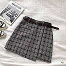 Женская буклированная юбка в клетку на запах с поясом 77jus436, фото 6