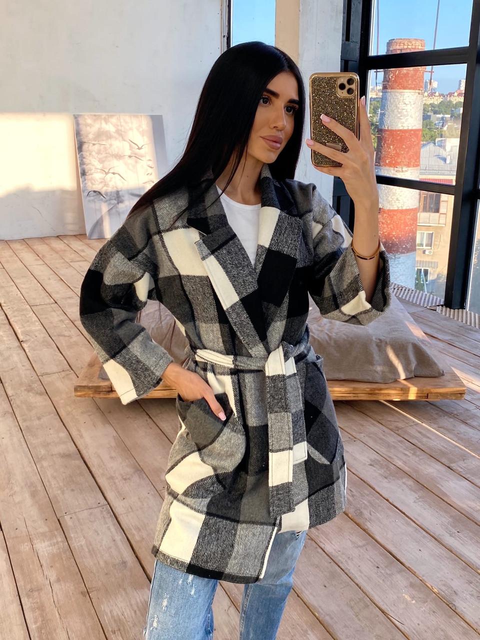Кашемировое женское Пальто в клетку с поясом и карманами р. 42-46 66lt287Q