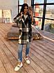 Кашемировое женское Пальто в клетку с поясом и карманами р. 42-46 66lt287Q, фото 2