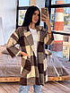 Кашемировое женское Пальто в клетку с поясом и карманами р. 42-46 66lt287Q, фото 3