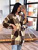 Кашемировое женское Пальто в клетку с поясом и карманами р. 42-46 66lt287Q, фото 4