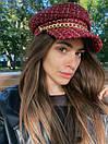 Женская твидовая кепка с цепочкой на козырьке в трех расцветках 83gol244, фото 5