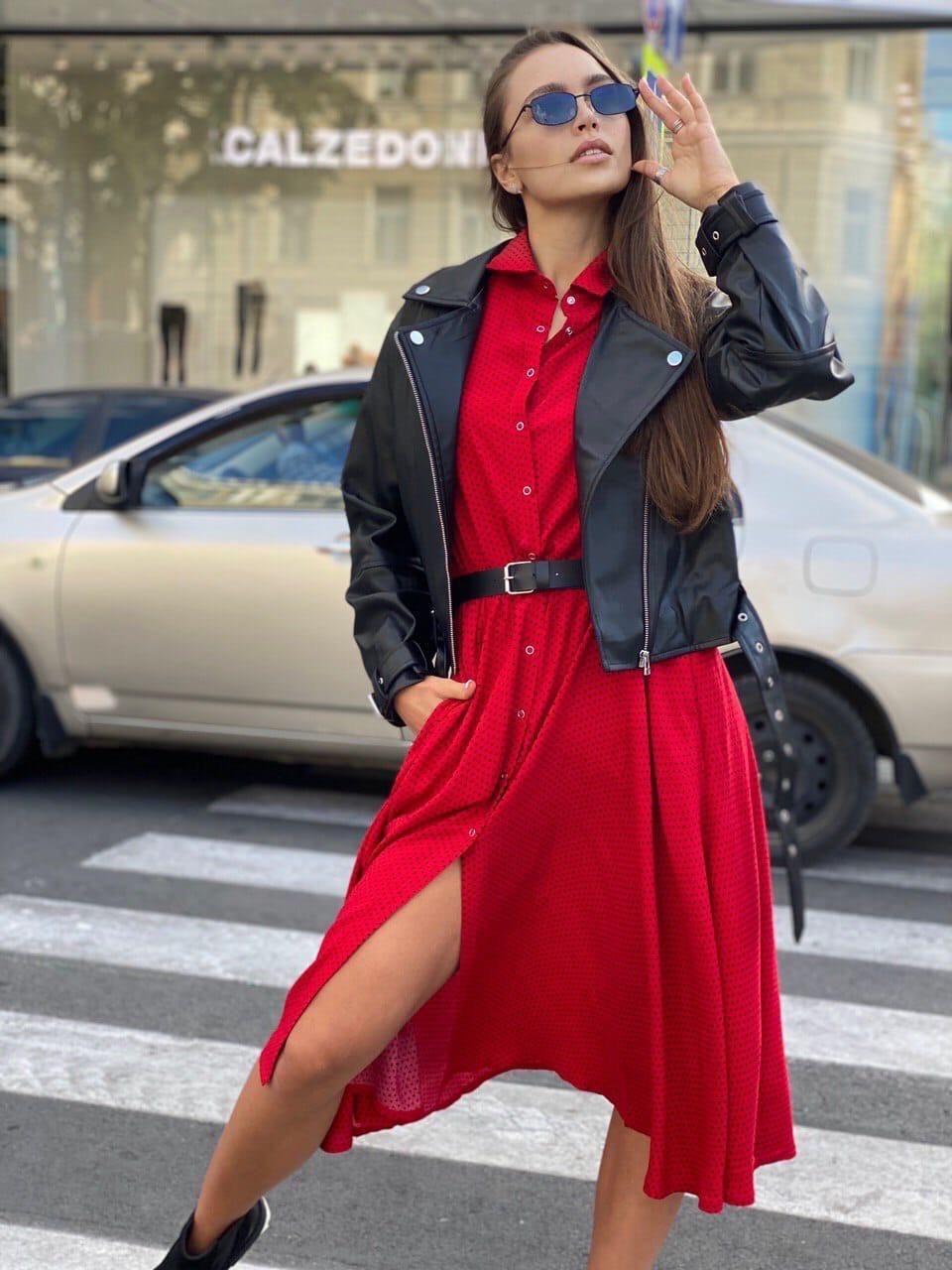 Платье - рубашка ниже колен с резинкой на талии (р. 42-46) 83plt1609