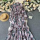 Длинное платье - рубашка на пуговицах с восточным принтом, пояс в комплекте (р. 42-46) 68plt1614, фото 4