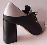 Туфли женские на удобном каблуке из натуральной кожи от производителя модель КС2089-2, фото 4