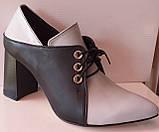 Туфли женские на удобном каблуке из натуральной кожи от производителя модель КС2089-2, фото 2