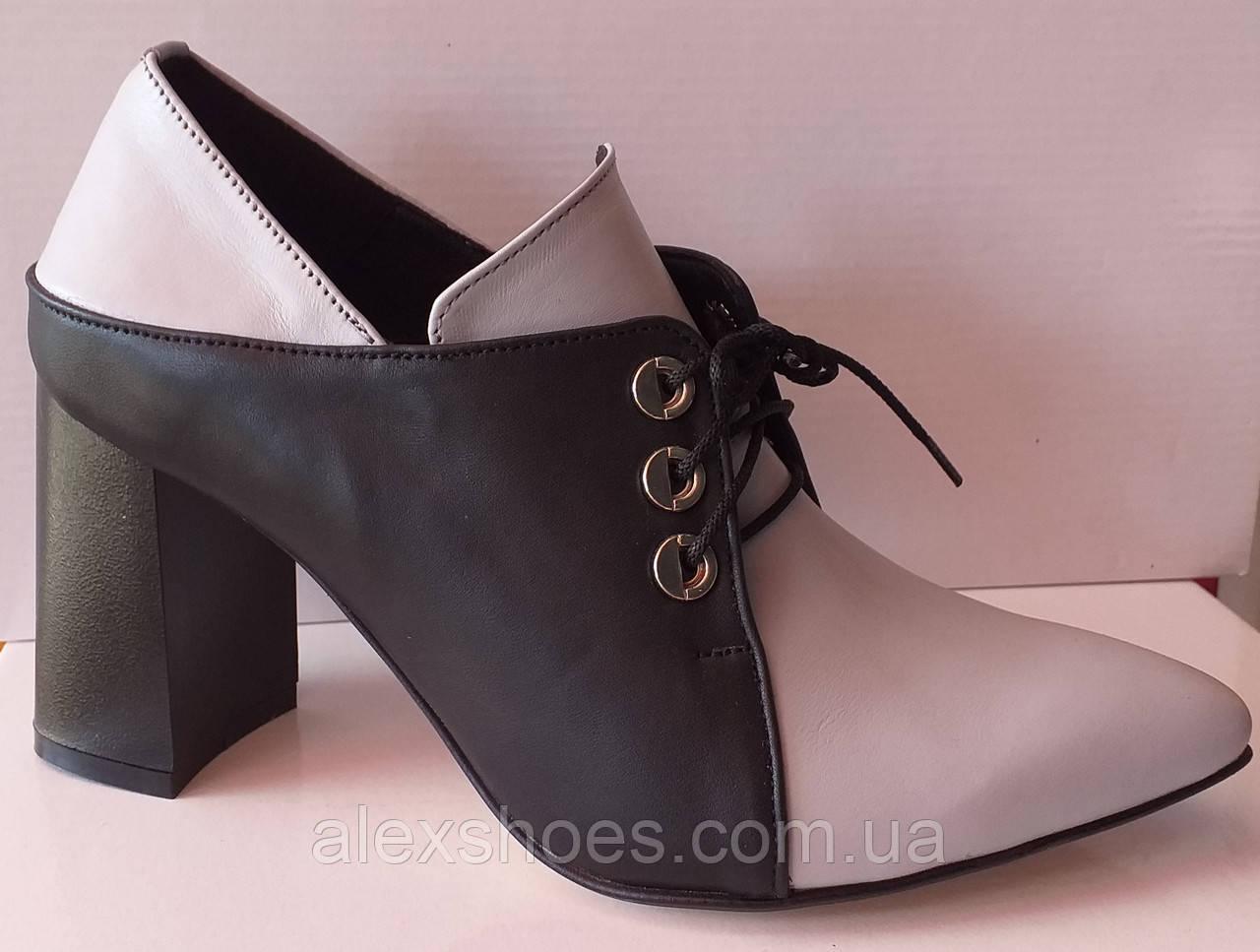 Туфли женские на удобном каблуке из натуральной кожи от производителя модель КС2089-2