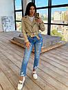 Женская кожаная куртка косуха с ремешком и отложным воротником (р. единый 42-44) 66kur442Q, фото 2
