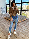 Женская кожаная куртка косуха с ремешком и отложным воротником (р. единый 42-44) 66kur442Q, фото 5