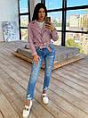 Женская кожаная куртка косуха с ремешком и отложным воротником (р. единый 42-44) 66kur442Q, фото 7
