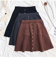 Женская вязаная юбка трапеция с накладными карманами и декором - кнопками (р. 42-46) 68mju435, фото 1