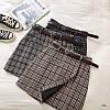 Женская буклированная юбка в клетку на запах с поясом 77mju436