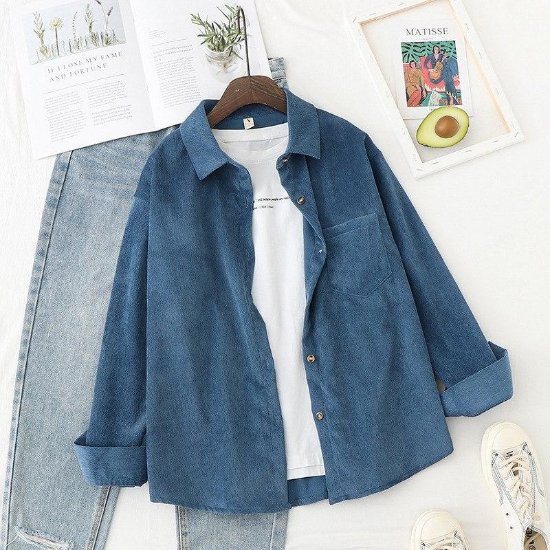 Женская свободная вельветовая рубашка оверсайз в расцветках (р. 42-46) 78bir410