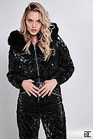 Женский горнолыжный зимний комбинезон с рюкзакомс и поясом на талии, капюшон с меховой опушкой 31mgk47