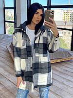 Жіноча коротке Жіночі пальта - сорочка в середню клітку з кашеміру (р. 42-46) 66мра284Е, фото 1