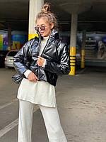 Женская демисезоннная кожаная куртка на утеплителе с воротником стойкой (р. 42, 44, 46) 83mku444, фото 1
