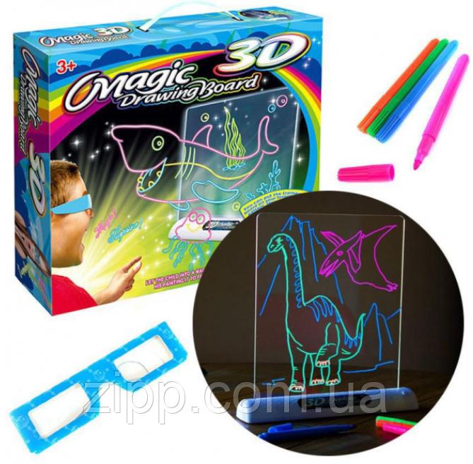 Детская развивающая  с LED подсветкой Magic Drawing Board Line