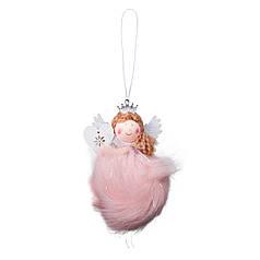 Подвеска Yes! Fun елочная Ангел с сердечком, розовая, h-11 см 973590