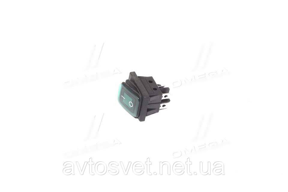 Переключатель клавишный герметичный ON/OFF 4к-т., подсветка LED (12V), зеленый 12V (пр-во Китай) 28002100