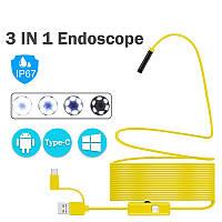 Жесткий USB эндоскоп Hard Yellow 2 метра / 7 мм / Android, PC