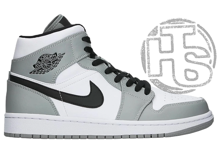 Мужские кроссовки Air Jordan 1 Mid Light Smoke Grey White 554724-092, фото 2