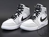 Мужские кроссовки Air Jordan 1 Mid Light Smoke Grey White 554724-092, фото 3