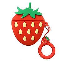 Чехол Smile Fruits series (+ кольцо) к наушникам Apple AirPods (Strawberry)