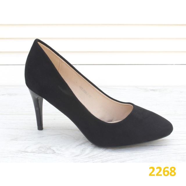 Туфли лодочки замшевые на низком каблуке черные 36, 37, 39 (2268)