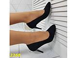 Туфли лодочки замшевые на низком каблуке черные 36, 37, 39 (2268), фото 4